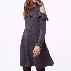 LOFT Heathered Grey Ruffle Cold Shoulder Dress